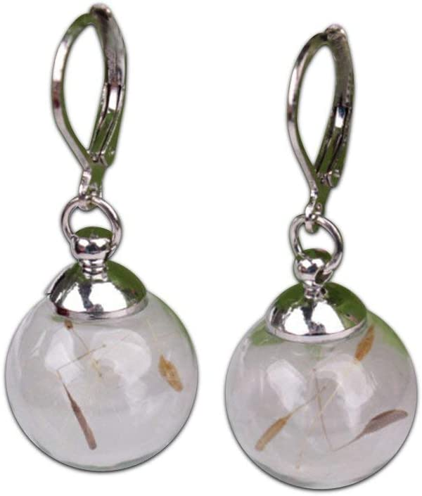 PULABO Personalized Glass Ball Earrings Dandelion Plant Dried Flower Ear Studs Excellent Quality and Stylish Useful