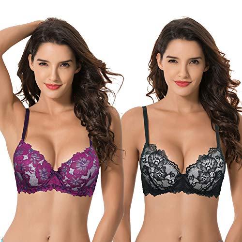 Curve Muse Women's Plus Size Push Up Add 1 Cup Underwire Perfect Shape Lace Bras-2PK-BLACK,FUCHSIA-48C