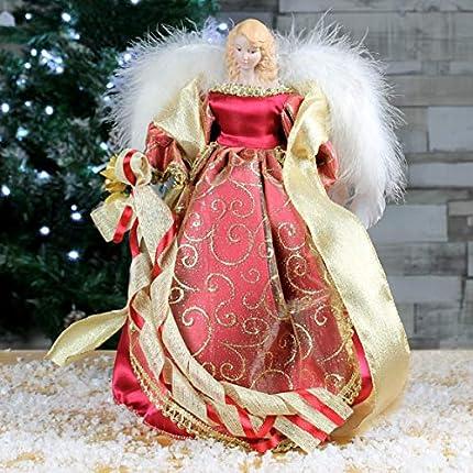 The Christmas Workshop 82000 30,48 cm 30 cm de árbol de Navidad de Ángel Tradicional en la Parte Superior, Rojo/Dorado