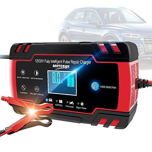 HHHKKK Cargador de Batería Coche Moto, 8A 12V Full Automático Inteligente Mantenimiento de Batería con Múltiples Protecciones para Automóviles, Motocicletas, ATVs, RVs, Barco
