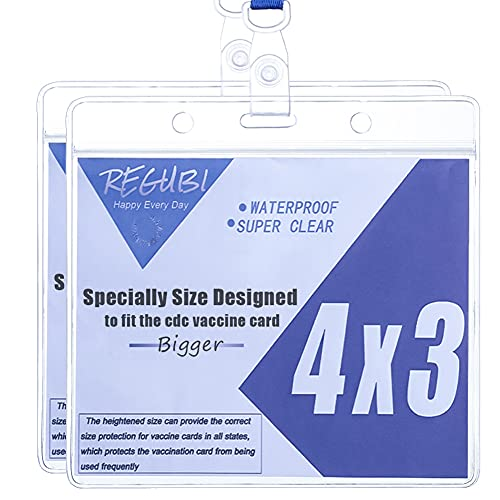 2 Set - Vaccine Card Protector 4x3 Waterproof Clear Plastic Sleeve with Lanyard for CDC Immunization Card ,Vinyl Horizontal Badge ID Name Tag CDC Vaccination Card Holder for Events & Travel