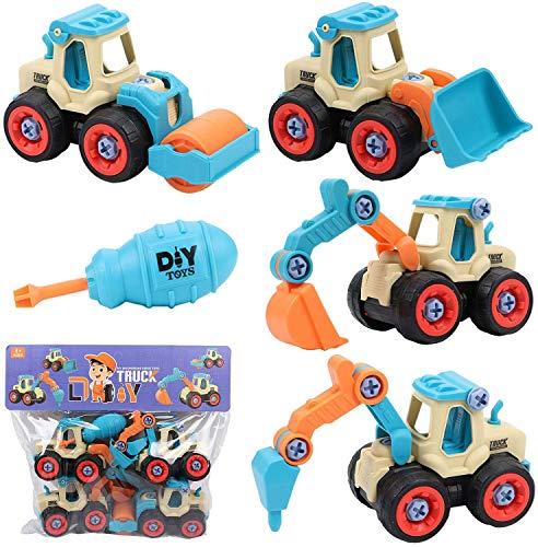 Tacobear 4 Piezas Vehículo de Construcción Juguete Excavadora Montar y Desmontar Juguetes con Destornillador Coches de Friccion Camión de Juguete Cumpleaño Regalos para Niños Niñas (A)