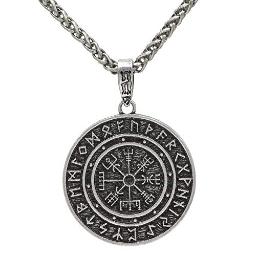 MLARK Handcrafted Norse Vikings Runes Amulet Pendant Celtic Pagan Pewter Viking Talisman Gift Necklace Jewelry for Men Unisex (#1-Silver)