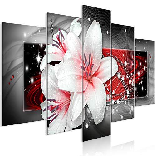 murando Cuadro en Lienzo Flores 200x100 cm 5 Partes impresión en Material Tejido no Tejido Cuadro de Pared impresión artística fotografía decoración- Lirios Abstracto Perlas Rojo Gris b-A-0616-b-m