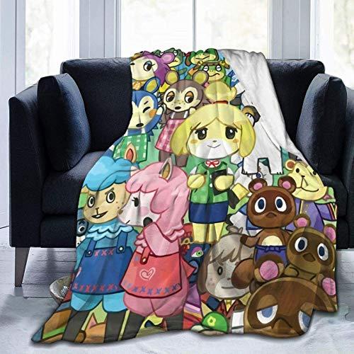 XCNGG Manta de forro polar de franela Cro-ss-ing con personajes lindos de animales de anime con flecos de pompones, manta de cama grande positiva, lavable y difusa, apta para sofá, silla de sa