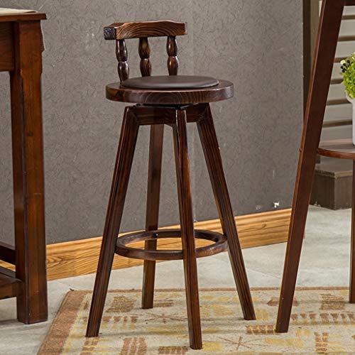 Tuqia meubels kledingtent, hoge draaistoel van hout, met rugleuning, stoelen, werkruimte, barkruk, hoogte 72 cm, huis en kruk