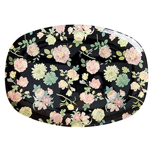 Rice Melamin-Teller Essteller oval 100% Melamin Blumen Dark Rose