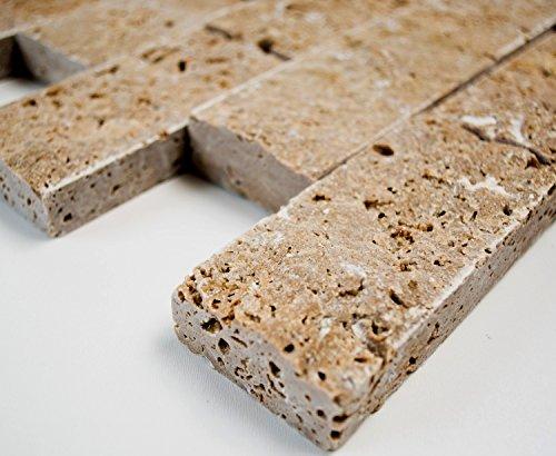 Mosaik-Netzwerk Brick Splitface NOCE Travertine 3D Travertin Naturstein Küche, Mosaikstein Format: 48x100x20 mm, Bogengröße: 60 x 100 mm, 1 Handmuster ca. 6x10 cm