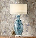 Annette Coastal Table Lamp Ceramic Blue Drip Vase Handcrafted Off White Oval Shade for Living Room Family Bedroom - Possini Euro Design
