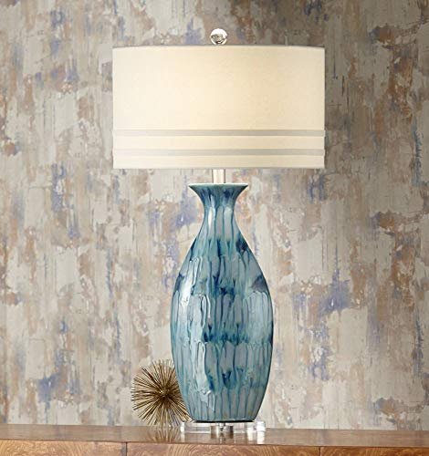 Annette Coastal Tall Table Lamp Handcrafted Blue Drip Ceramic Vase Off White Oval Shade Decor for Living Room Bedroom House Bedside Nightstand Home Office Entryway Family - Possini Euro Design