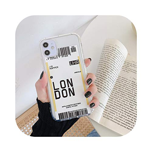 Funda para iPhone 12 MINI 7 8 Plus 11 Pro X XS MAX INS Coque New York Los Ángeles París Londres Seúl viaje City Air ticket Cover-Londres para iPhone 6 6S
