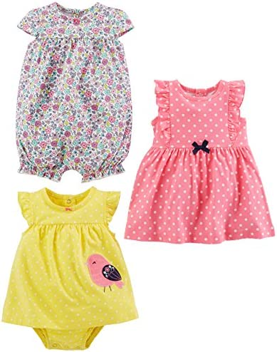 Simple Joys by Carter s Baby Girls 3 Pack Romper Sunsuit and Dress Pink Dot Floral Yellow Bird product image