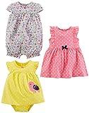 Baby Girls paquete de 3 pelele, traje de sol y vestido
