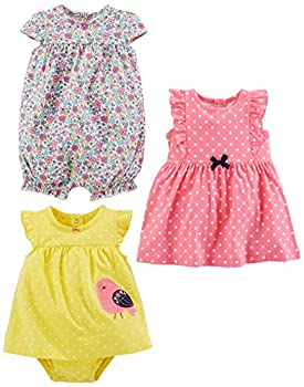 Simple Joys by Carter s Baby Girls  3-Pack Romper Sunsuit and Dress Pink Dot/Floral/Yellow Bird 12 Months