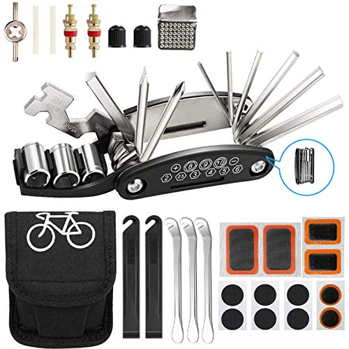 Bike Repair Tool Kit Puncture Kits for Bikes Mountain Bike Accessories for Men 16 in 1 Multifunction Tool Set Tire Levers Bike Mountain Bike Road Bikes with Patch Kit (27 pack)