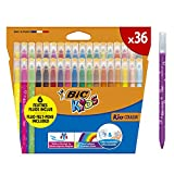 BIC Kids Kid Couleur rotuladores punta media - colores Surtidos, Estuche de 36 unidades