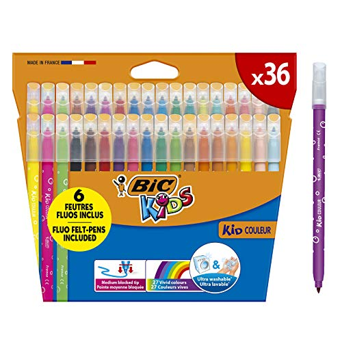 BIC Kids Kid Couleur Rotuladores para niños, Punta Media -