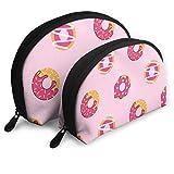 Personnalisé Rose Donut Femmes 's Shell Forme Sac À Main Voyage Sac De Rangement Organisateur Sac Cadeau 2 pcs