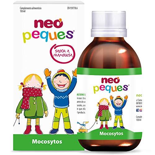 Neo Peques | Mocosytos Jarabe Infantil Para la Tos Seca y Productiva | Expectorante | Cuida la Garganta de Niños | 150 ml | Sabor Frambuesa | Pino, Liquen de Islandia