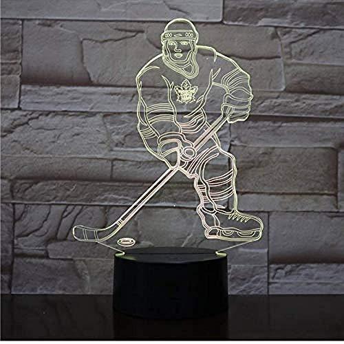 3D Nachtlichtsensor LED Touch Control Schalter Hockey Player Bunte USB Acryl Lampe Sport Schreibtisch Lampe Dekoration