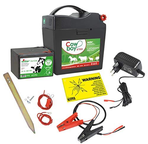 Eider Weidezaungerät Cowboy B7000-9V / 12V / 230V Betrieb - Unser stärkstes Batteriegerät mit Batterie & Anschlussset - kompakt & schlagstark - Made in Germany