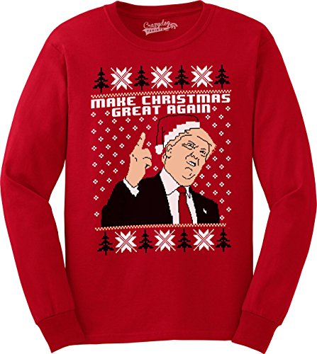 Make Christmas Great Again Funny Ugly Christmas Sarcastic Graphic Men Sweatshirt (Red) - XL