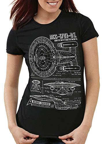 style3 NCC-1701-D Cianotipo Camiseta para Mujer T-Shirt Fotocalco Azul Trek Trekkie Star, Color:Negro, Talla:M