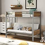 Merax Bunk Bed, Metal Futon Frame with Guardrails and Ladder, No Box Spring Needed Loft, Twin Over Full, Gray