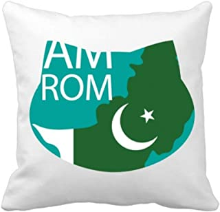 printyourlife I Am from Pakistan National Flag Country Cat Throw Pillow Square Cover