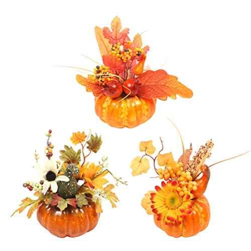 Amosfun 3 stücke Halloween Künstliche Kürbis Dekorationen Tisch Ornamente für Halloween Thanksgiving Herbst Dekoration (Jedes Stück für EIN Muster)