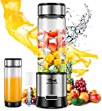 Portable Blender, GOLDFOX USB Rechargeable Personal Blender for Shakes and Smoothies, 15oz Detachable Portable Juicer Cup Small Fruit Juice Mixer for Travel, Gym, Office etc. FDA BPA Free (with Brush)