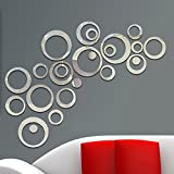 aooyaoo Circle Mirror DIY Wall Sticker Wall Decoration 24pcs Grey...