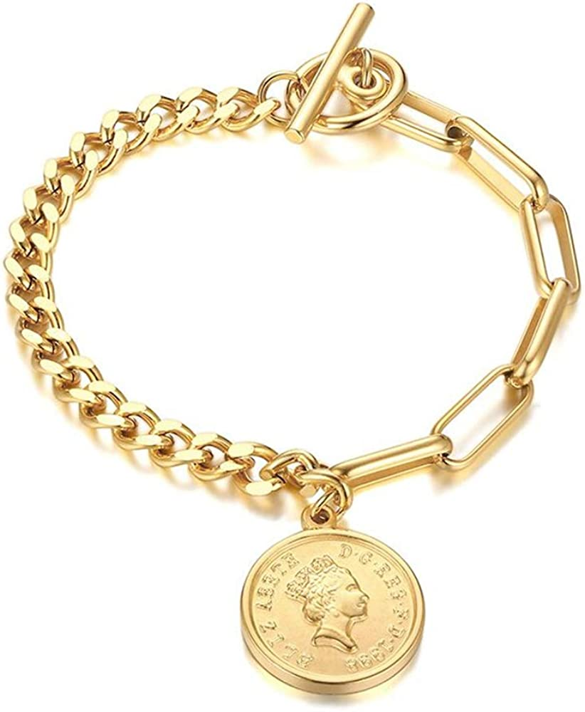 Fashion Link Max 59% OFF free Charm Coin Bracelet Girls for Women Steel Stainless