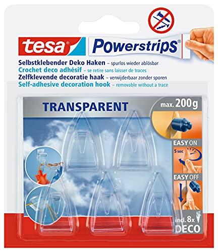 tesa Powerstrips DECO Haken SMALL - Klebehaken für Deko an Glas und Spiegel - bis zu 200 g Haltekraft