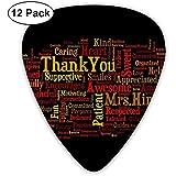 12 Pack Púas de guitarra Plectrums Words Pattern Celluloid Guitar Pick Set para guitarra eléctrica acústica Bass Mandolin Ukulele 0.46mm 0.71mm 0.96mm