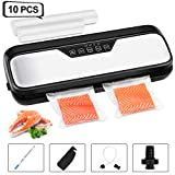 Vacuum Sealer Machine, VPCOK Vac Pack Machine Automatic/Manual Food Vacuum Sealer, Dry/Moist One-Touch Vacuum Packing Machine with Accessory Hose, Wine Stopper, Opening Cutter, Marker Pen, Black