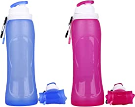 2 Pack Collapsible Silicone Water Bottles - 500 ml Compact Water Flask - Easy to Clean and Store for Camping, Hiking & Sports