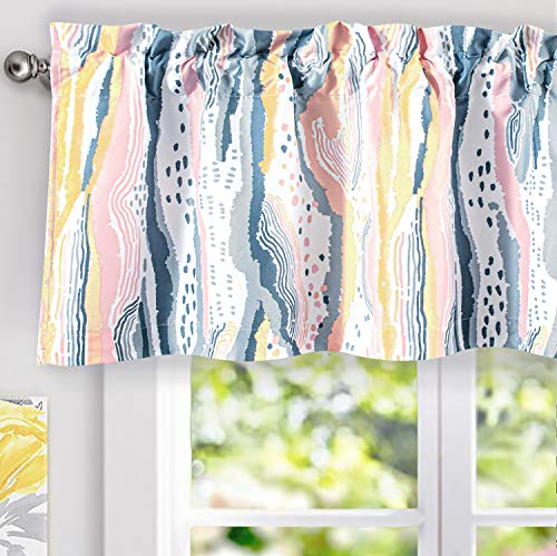DriftAway Paint Brush Watercolor Ink Stripe Pattern Thermal Insulated Blackout Window Curtain Valance Rod Pocket 2 Layers 52 Inch by 18 Inch Plus 2 Inch Header Pink Yellow 1 Pack