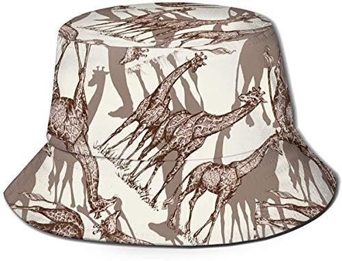 BONRI Cappello da Pescatore da Viaggio con Stampa Leopardata Rosa Unisex Cappello da Pescatore Estivo Cappello da Sole-Giraffa con Stampa Animalier