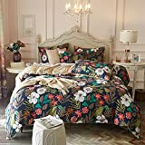 ASHAMED 5PCS Reversible Floral Duvet-Cover-Sets, Queen Microfiber Soft Navy Comforter-Cover Sets with1 Duvet Cover and 4 Pillowcases, Flower&Grid Pattern Luxury Comfortable Zipper Closure Bedding Sets