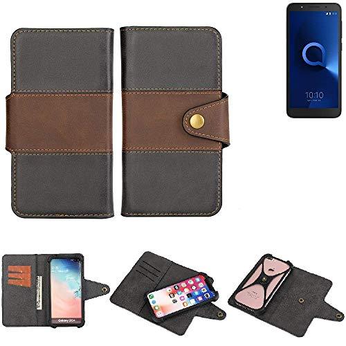 K-S-Trade® Handy-Hülle Schutz-Hülle Bookstyle Wallet-Case Für -Alcatel 1C Dual SIM- Bumper R&umschutz Schwarz-braun 1x