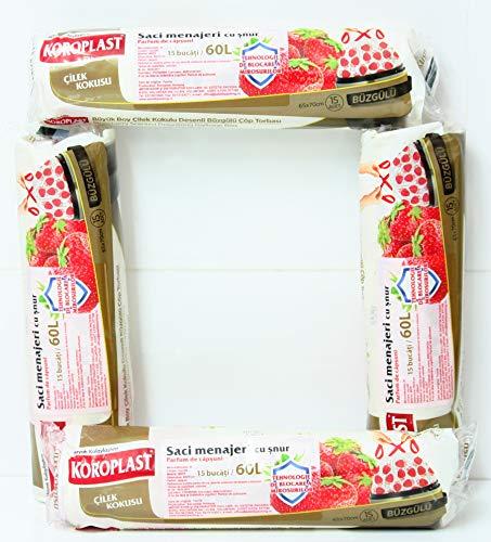 KOROPLAST 60 Erdbeere Duft Müllbeutel mit Zugband, 60 Liter, 4 Rollen mit 15 Beuteln/Müllsäcke/Mülltüten/Erdbeere duftend/Superstarker Erdbeerduft Geruchshemmende Technologie