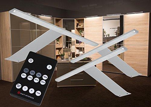 LED Aufbauleuchten 3-er Set + Fernbedienung warmweiß /2185-3/4154möb/ Schrankleuchte Möbelleuchte