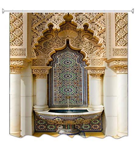 A.Monamour Duschvorhang Wasserdicht Antischimmel Waschbar Stoff Ethnischer Marokkanischer Brunnen Textil Polyester Badezimmer Bad Badewanne Vorhang mit Haken 180x180 cm