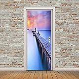 SONYUN Pegatinas Puertas Adhesivo 77X200cm Vista Azul Atardecer Al Mar Interiores Sala De Estar 3D Cuarto De Baño Impermeable Actualización Profesional De Vinilo Extraíble 3D Etiqueta De Puerta