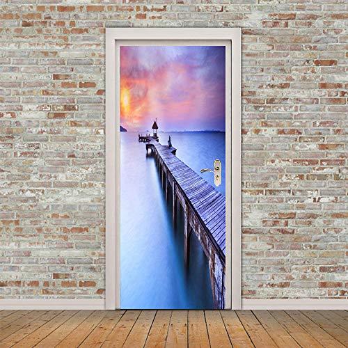 SPSPKZ 3D De La Puerta Murales De Arte Calcomanías De La Puerta Poster Foto Niños Cuarto Autoadhesivas Impermeables Removable Vinilo Paisaje De Puente De Madera De Muelle Junto Al Mar Decoración Pare