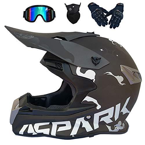 CUTEY Motocross Helmet Handsome Teen Adult ATV Motorcycle Helmet SUV Mask Goggles Gloves,Fashion Dirt Bike Off-Road Mountain Bike Helmet,XL