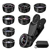 Handy-Kameraobjektiv-Set, 7-in-1 Universal-Telephoto-Objektiv, 210° Fisheye-Objektiv, 120°...
