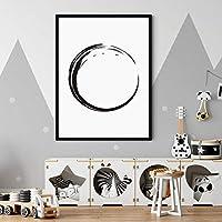 古典的な黒と白の丸いポスターキャンバス壁アート油絵リビングルームの壁の写真廊下装飾絵画60x80cmフレームなし