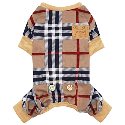 kyeese Dog Pajamas Checkered Stretchy Soft Dog Pjs for Medium Dogs Dogs Hair Shedding Cover Doggie Jammies Onesie Dog Clothes
